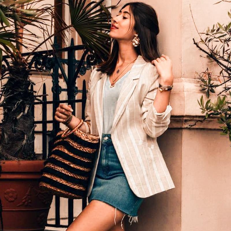 Conmoto Autumn Winter 2019 High Fashion Blazers Coats Women Stripe Turm Down Casual Blazer Jackets Female Business Chic Coat