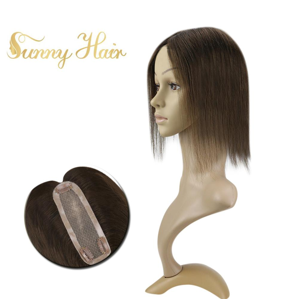 VeSunny Hairpiece Mono Topper Real Human Hair Crown Toupee With 3 Clips 2x6 Inches Chocolate Brown #4