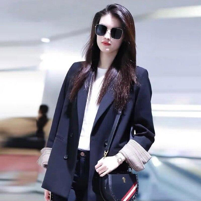 Women Spring Fashion Black Blazer Suit OL Long Sleeves Slim Workwear Blazer Coat Double-breasted Casual Ladies Outwears