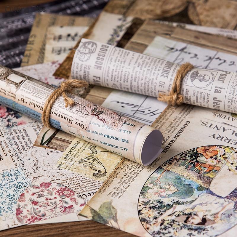20Pcs/lot 20x20cm Vintage Words Background Scrapbooking Paper Sticker Vellum Paper Card Making Diy Journal Project 2
