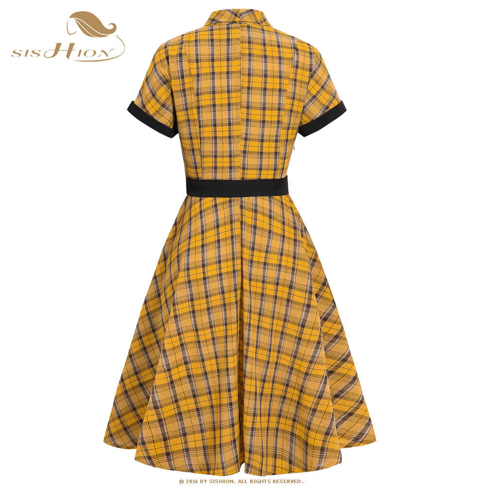 SISHION vestito casuale jurken Manica Corta Plaid Giallo Vestito VD1331 2020 Estate Altalena Rockabilly 50s Vintage dress con la Cinghia