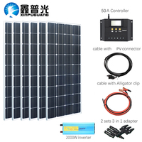 XINPUGUANG 100w Monocrystalline solar panel 600w solar kits system charge with 2000w inverter for 12v or 24v battery