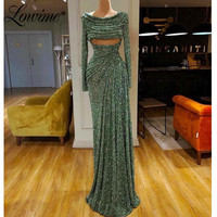 Long Sleeves Prom Dresses 2020 Pleats Handmade Beading Vestidos Open Bust Hot Sexy Party Dress Mermaid Arabic Evening Gowns
