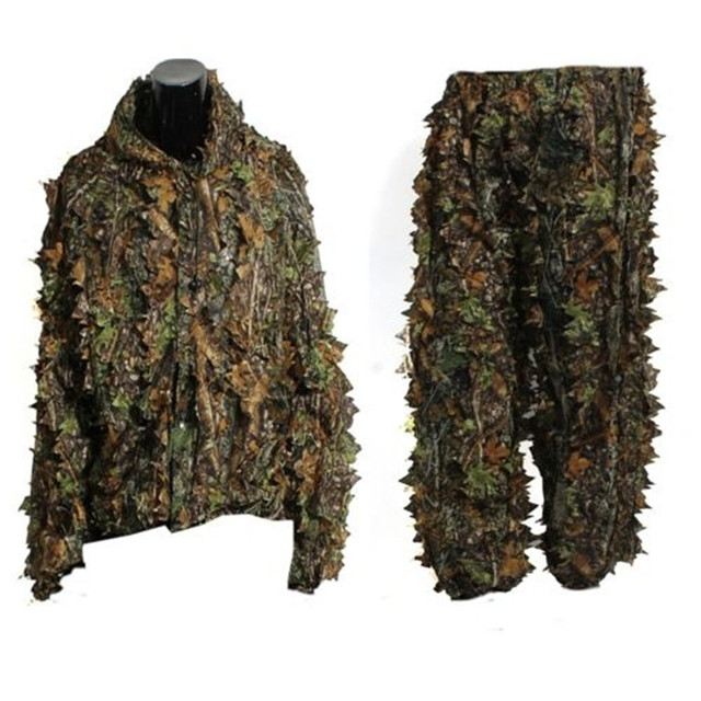 Outdoor Hunting clothes 3D maple leaf Bionic Ghillie Suits Yowie sniper birdwatch airsoft Camouflage Clothing jacket and pants 5