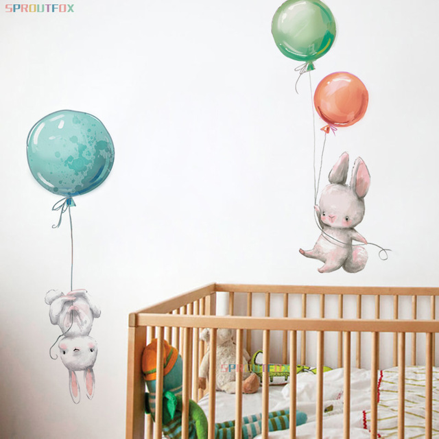 Animal Cartoon Wall Stickers For Kids Rooms Balloon Bunny Decorative 3D Wall Stickers For Children Rooms Large Kids Wall Decals 3