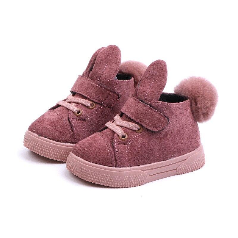 COZULMA Baby Girl Warm Plush Lining Sport Shoes Kids Rabbit Ear Fashion Sneakers Children Non-slip Flat Casual Shoes Size 21-30