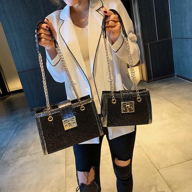 Petite chaîne simple grande capacité sac fourre tout 2019 nouvelle version coréenne de la mode épaule sauvage en bandoulière