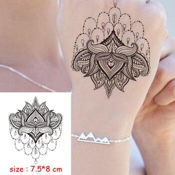 Temporary Waterproof tattoo sticker mandala flower necklace pattern hand back fake tatoo water transfer flash body art tatto