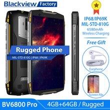 """Blackview BV6800 Pro 안드로이드 8.0 NFC IP68 IP69K 스마트 폰 페이스 ID 4GB + 64GB 16.0MP 휴대 전화 4G 5.7 """"FHD Octa Core Cellphone"""