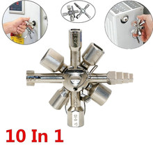 Clé triangulaire 10 en 1, boîtier de commande électrique multifonction, clé à cliquet croisé, Valve de porte d'ascenseur