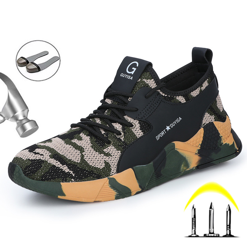 Men/'s Camo Work Safety Shoes Steel Toe Boots Indestructible Lightweight Sneakers