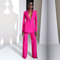 Fashion New 2019 Spring Fuchsia Formal Pant Suits for Weddings Women Sets Business Suits Female Trouser Suits Women Clothing