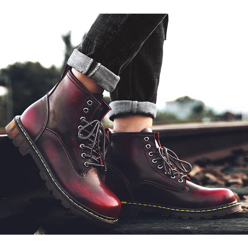 Men Boots For Martin Boots Genuine Leather Ankle Boots Dr Motorcycle Boots Winter Shoes Men Shoes Plus Size 46 Male Shoes Adult