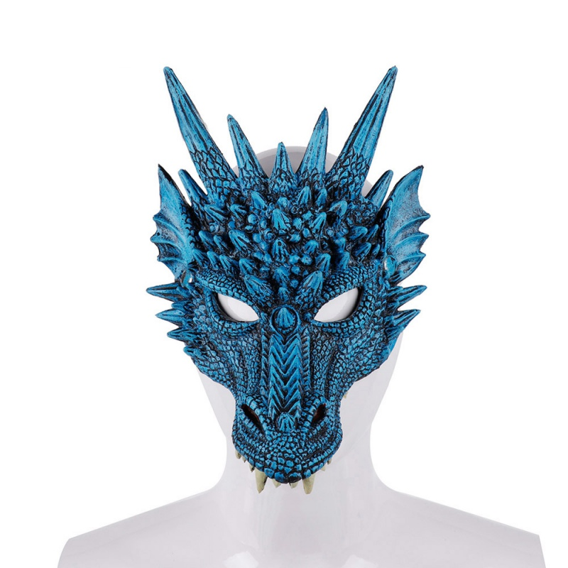 Halloween 4D Dragon Half Face Mask For Kids Teens Masquerade Cosplay Props Costume Party Decorations Supplies