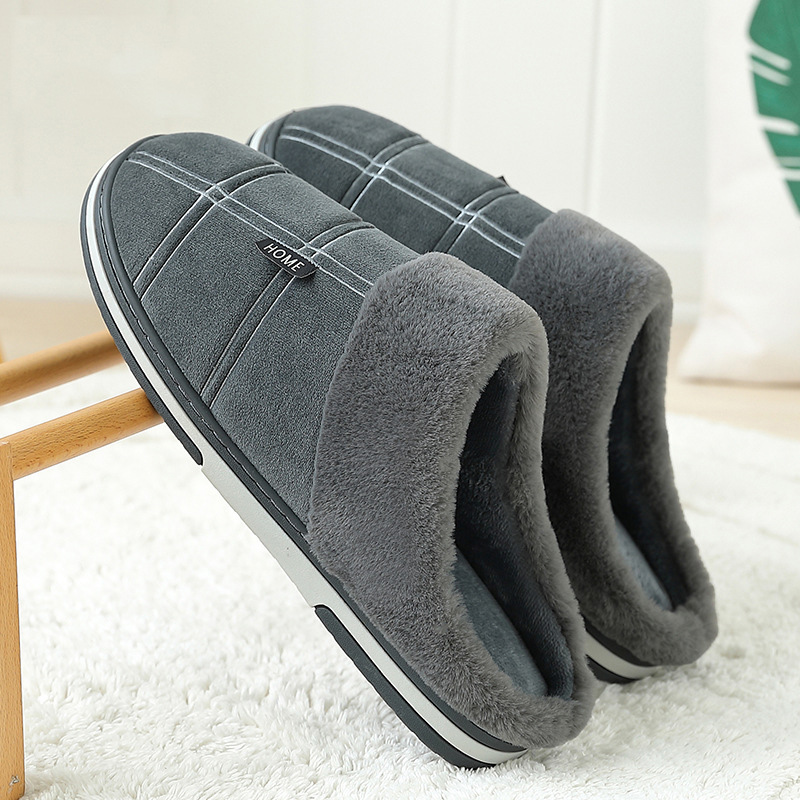 Slippers Men Gingham Warm Winter Man's Slippers Sturdy Sole Light Weight House Slippers Man Soft Velvet Indoor Slippers Non Slip