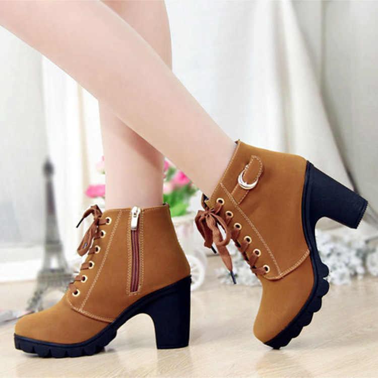 Kadın yarım çizmeler sonbahar kadın yüksek topuklu ayakkabı 8.5 cm dantel-up kadın martin çizmeler botas de mujer artı boyutu sd890