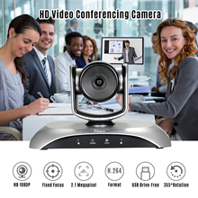 Conference-Camera Webcam Video 1080P HD with Remote-Control Support Fixed-Focus Rotation