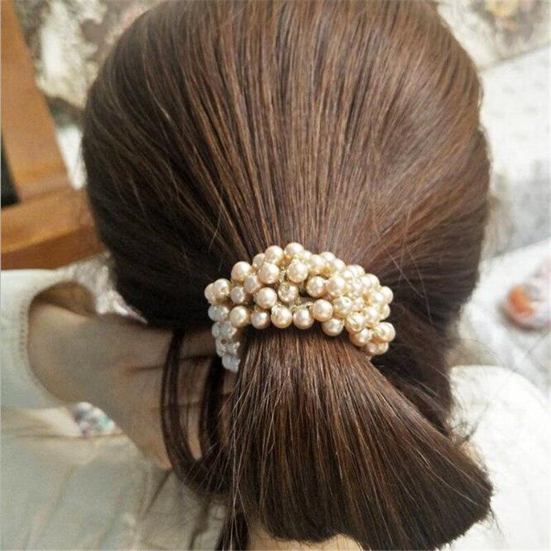 Резинка для волос с искусственным жемчугом и бусинами
