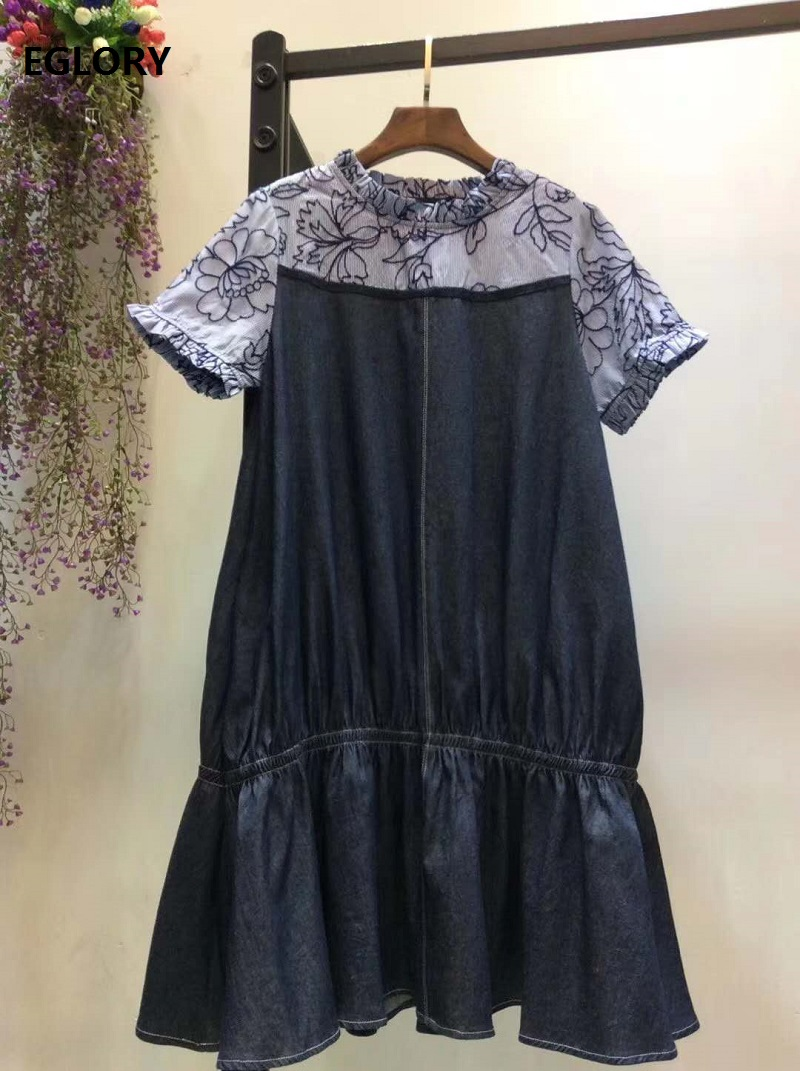 High Quality Denim Dress 2020 Spring Summer Style Women Appliques Embroidery Patchwork Short Sleeve Casual Blue Jeans Dress Girl