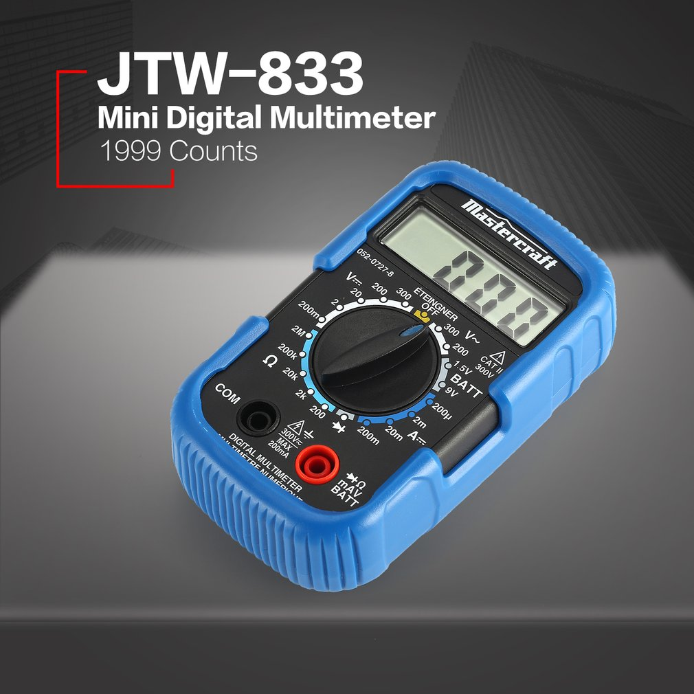 JTW-833 Handheld Mini Digital Multimeter 1999 Counts AC/<font><b>DC</b></font> Volt Diode Battery Tester Ammeter Voltmeter Multifunction Multimeters image