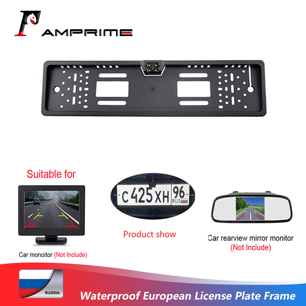 AMPrime 140 Degree Waterproof European License Plate Frame Backup Car Number Rear View Camera 4 LED Night Vision Car-styling