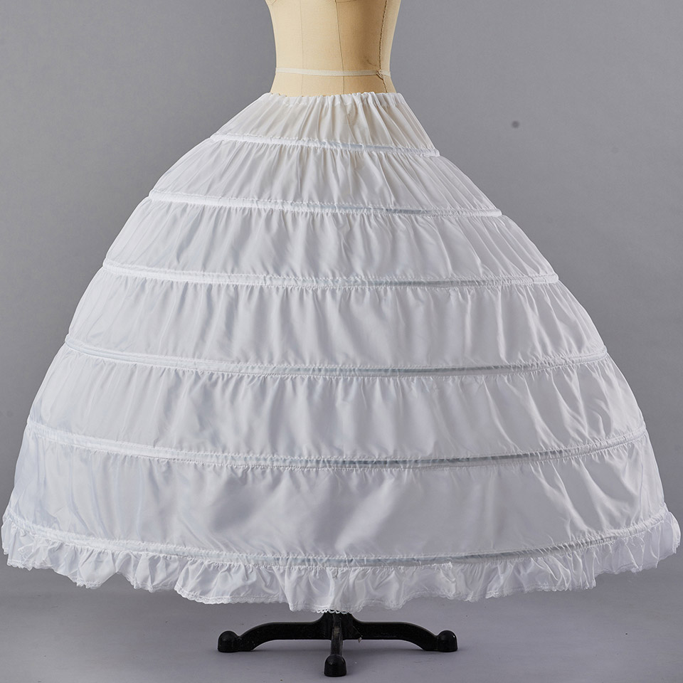Dressv Cheap Wedding Petticoat Jupon Long Crinoline Slip Underskirt for Ball Gown 6 Layers Loops Wedding Petticoats