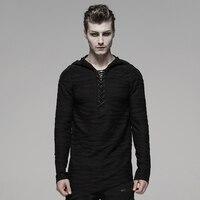 PUNK RAVE Men's Dark Irregular Stripe Knitted Velvet Irregular T Shirt Hoodies Rock Personality Men Tops Streetwear Men Shirt
