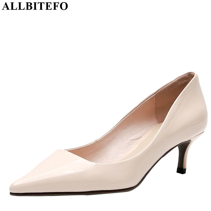 ALLBITEFO Real Genuine Leather High Heel Shoes High Quality Pointed Toe Women Heels Spring Autumn Pure Color Office Ladies Shoes