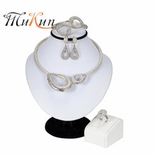 MUKUN 2019New Exquisite Dubai Silver Plated Jewelry Set Nigerian Wedding Woman Accessories African Beads