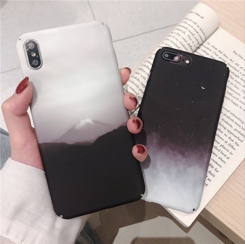 For <font><b>OPPO</b></font> Reno Z Case Matte For <font><b>OPPO</b></font> F11 Pro A83 A79 A77 A59 <font><b>A57</b></font> A7 A5 Hard PC Luxury Retro Scenery Mountain Starry Sky <font><b>Cover</b></font> image