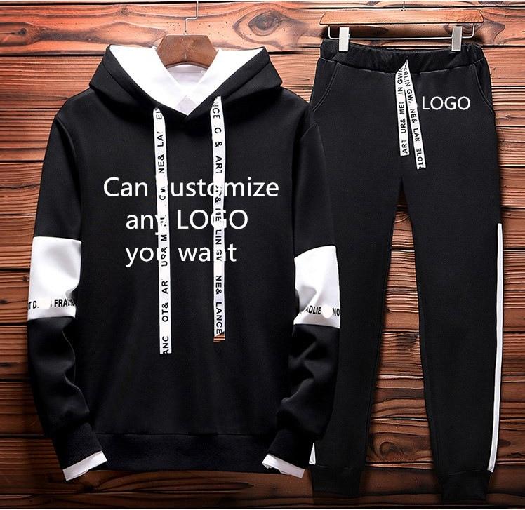 Mens Casual Hoodies Custom LOGO Sweatshirt Spring Autumn Hoodies+Pants 2Pcs Sporting Suit Fleece Warm Thick Sportwear