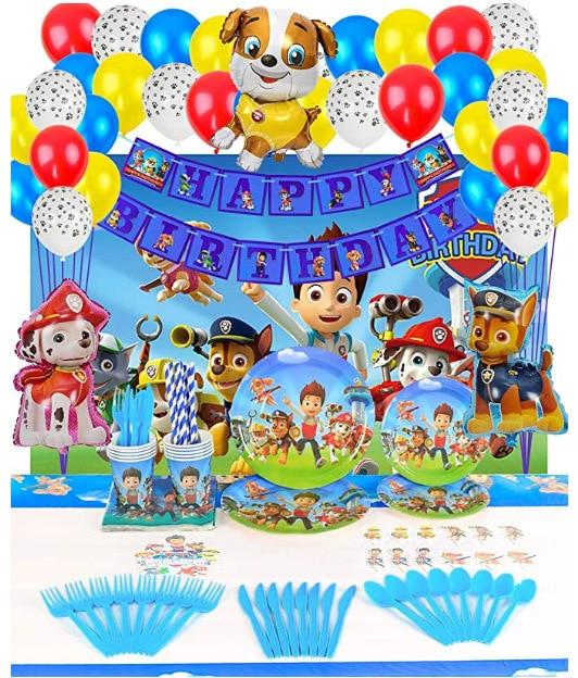 Оригинальный Paw шар из мультфильма «Щенячий патруль» из День рождения украшения подарочные пакеты бумажные стаканчики и тарелки Ножи ложка...