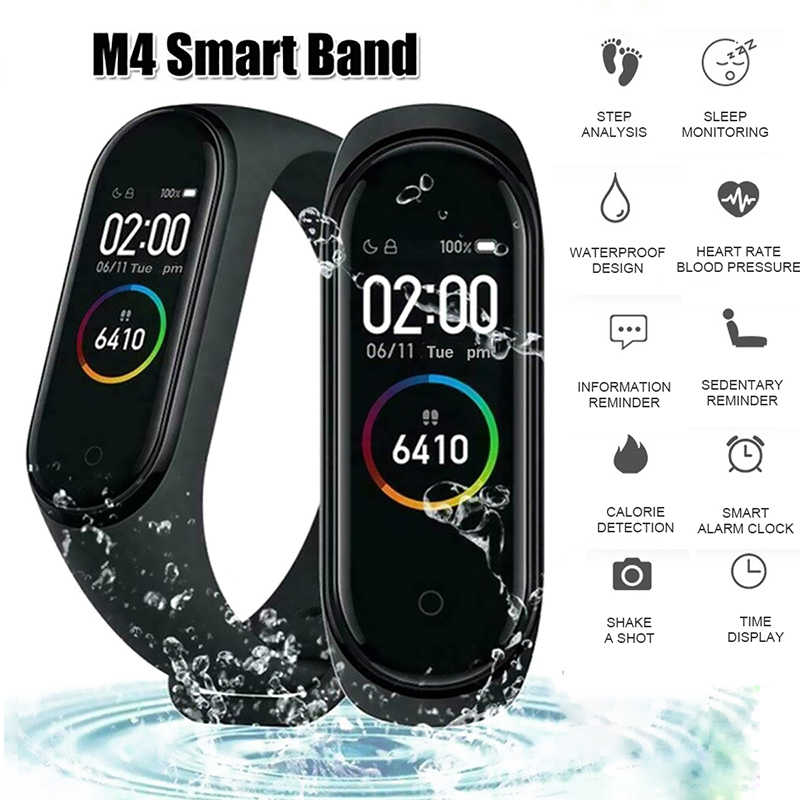 M4 Smart Bracelet Bluetooth Sport Watch Smart Band Color Screen Waterproof Heart Rate Fitness For Android IOS W9D0701