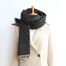 Luxury brand double letters cashmere scarf shawl female winter warm shawl cloak