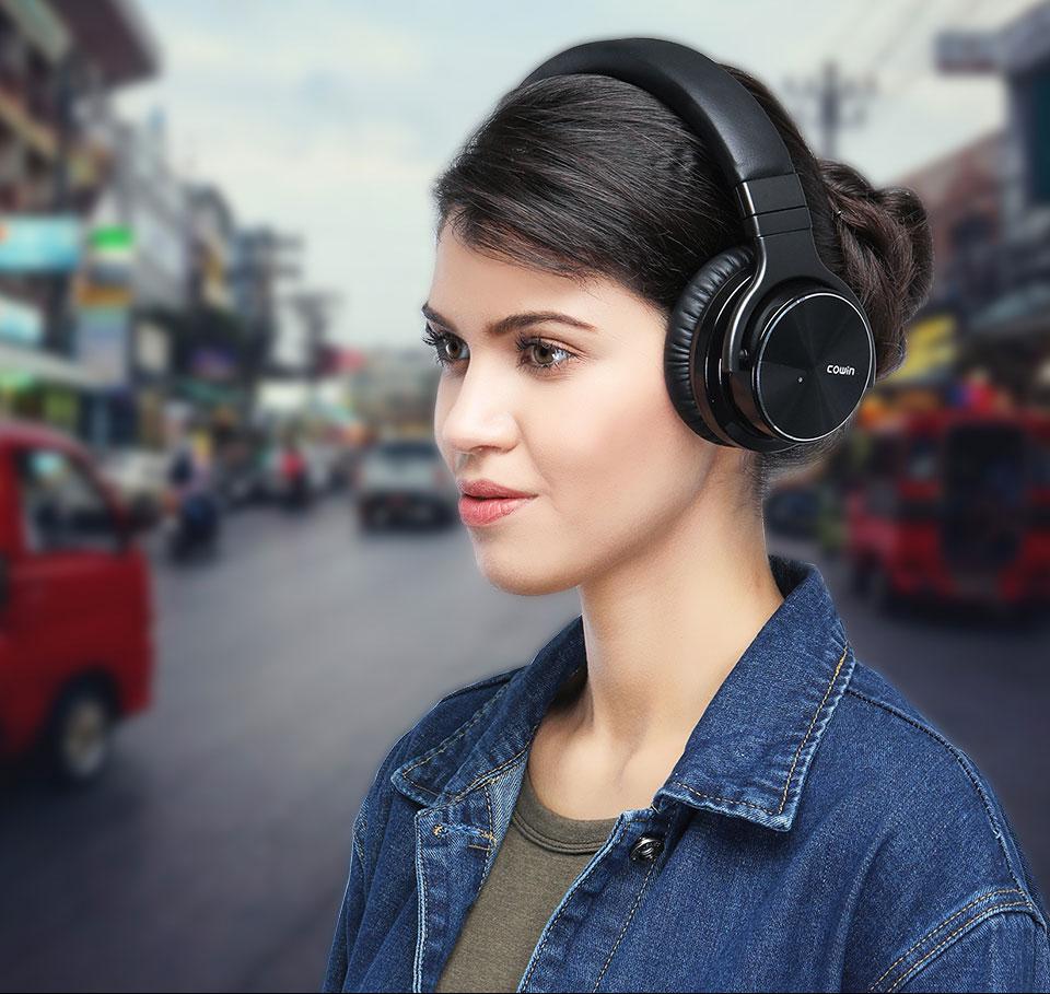 Asli Cowin E7PRO [Upgrade] Peredam Kebisingan Aktif Headphone Bluetooth Headset Nirkabel dengan mic ANC Handsfree HIFI Bass