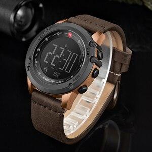 Image 3 - KADEMAN Militär Sport herren Uhr Digital Display Wasserdichte Schritt Zähler Leder Uhr Top Luxus Marke LED Männlichen Armbanduhren
