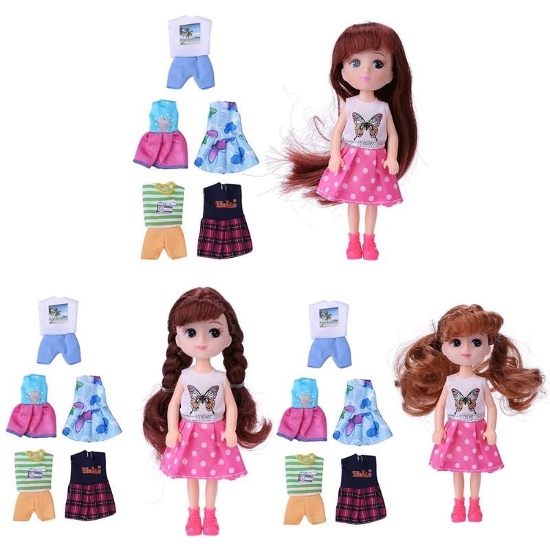 10pcs Plastic PVC Dressing Costume Doll Kids Play House Toy Baby Birthday Present Handmade Fashion Clothes For Doll Play Gift