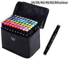 YMZ Markers 24 36 40 48 60 80 Pcs Colors Dual Tips Alcohol Graphic Sketching Markers Pen for Bookmark Manga Drawing Art Supplies