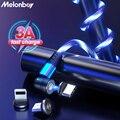 Магнитный кабель 540 °, кабель Micro USB Type-C, 3A, быстрая зарядка, светящийся Магнитный зарядный шнур для телефона с подсветкой для iPhone 11, Samsung