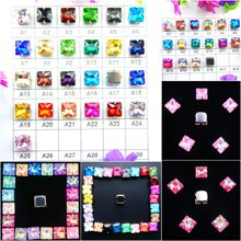 Glass Crystal Silver claw settings 8mm 10mm 12mm Fancy colors Square shape Sew on rhinestone beads garment shoes bags diy trim(China)