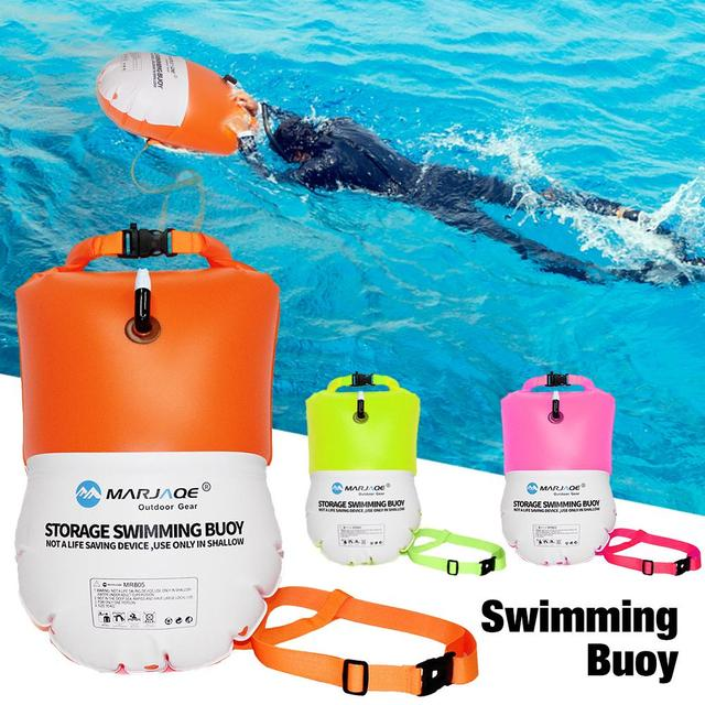 20L Waterproof Swimming Buoy With Dry Bag Multifunctional Inflatable Good Visibility Swimming Buoy For Water Sports Lovers