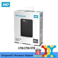 """המקורי!!! Western Digital WD אלמנטים קשיח כונן דיסק קשיח HDD 2.5 """"500GB 1TB 2TB 4TB HDD USB 3.0 נייד קשיח חיצוני דיסק"""