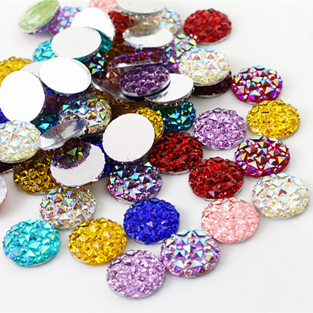 New Fashion 40pcs 12mm Mix Colors Flat Back Resin Cabochons Cameo Jewelry Accessories Supplies Wholesale Supplies
