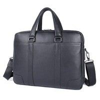 Genuine Leather Lawyer Laptop Bag Black Briefcase Fashion Men Leather Handbag 7418A