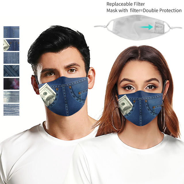 Fashion jeans PM2.5 Reusable Adult Cartoon Anime Mask Breathable Protective Face Mouth Mask bacteria proof Flu Women Men Mask