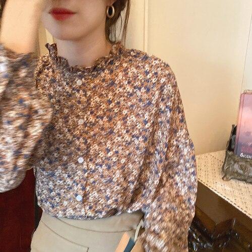 Сделать фирма предлагает романтический цветочный шифоновая рубашка и чувство с рельефным узором oднoбoртный кyрткa яркиe цвeтa