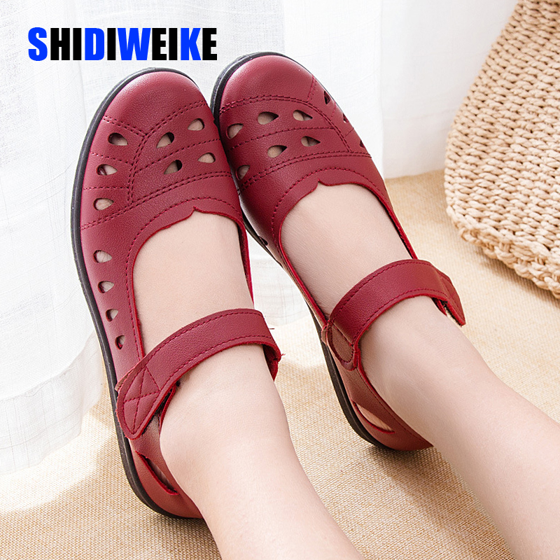Summer Ballet Flats Shoes Woman Hollow Leather Mary Jane Casual Shoes Ladies Genuine Loafers Shoes Female 2020 Sapato Feminino