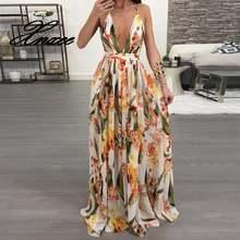 Xnxee женское платье с глубоким v образным вырезом и цветочным