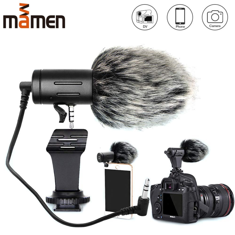 Mini Portable 3.5mm Phone Microphone Condenser Phone Video Camera Interview Microphone With Muff For IPhone Samsung Canon Nikon