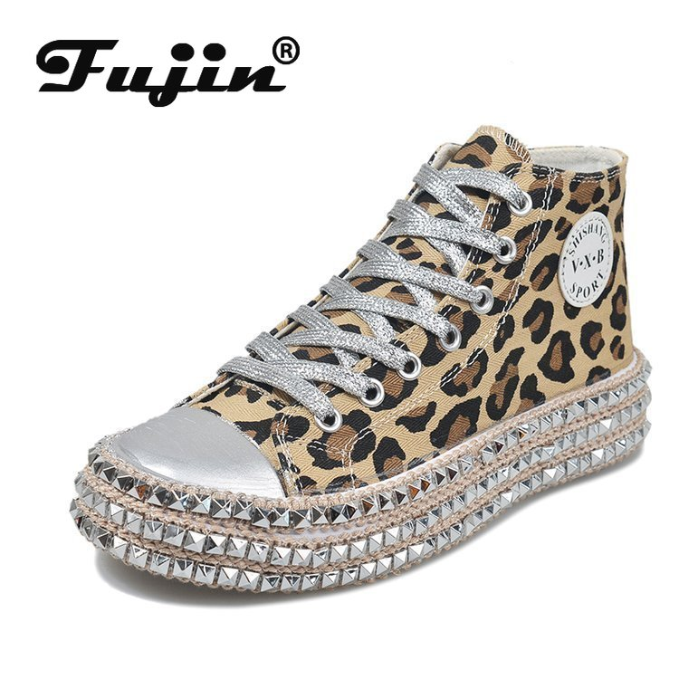 Fujin Leopard Sequined Canvas Shoes Women Spring Autumn high top Willow Nail Thick Bottom Casual Women Shoes Sneakers